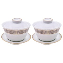 Set of 2 Chinese Tea Cup Gaiwan Set Modern Vintage André Fu Living Tableware