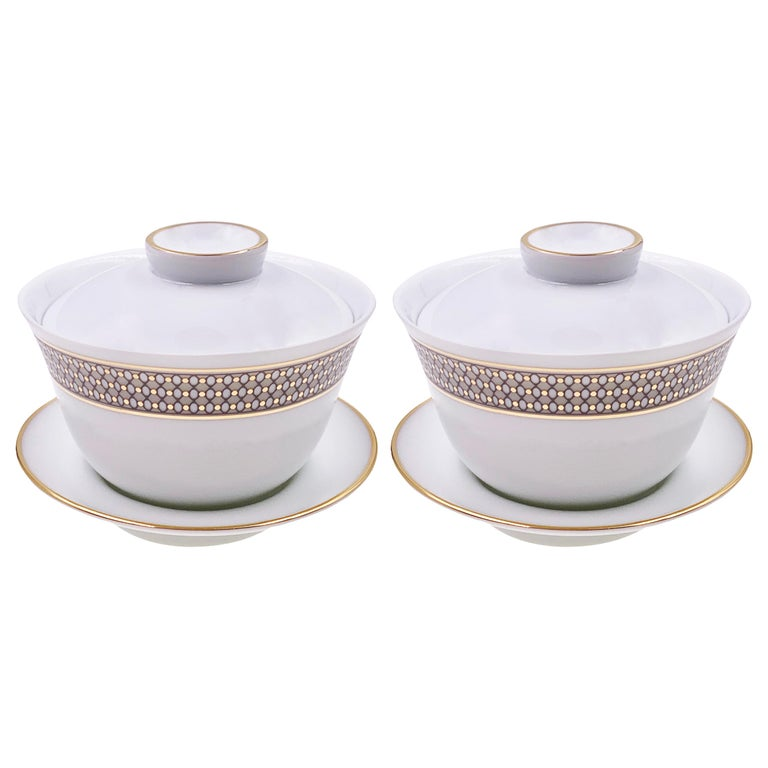 Set of 2 Chinese Tea Cup Gaiwan Set Modern Vintage André Fu Living Tableware For Sale