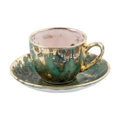 Set of 2 Coffee Cups and Saucer Gold Handpainted 7cl Coralla Maiuri Modern