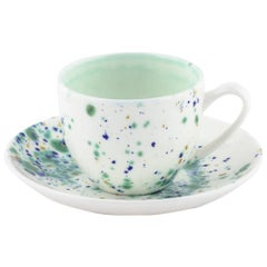 Set of 2 Coffee Cups and Saucer Hand Painted Coralla Maiuri Modern New