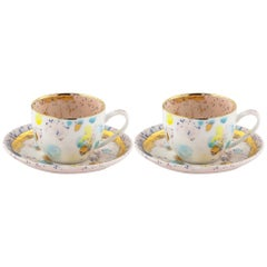 Set of 2 Coffee Cups and Saucer Gold Handpainted Coralla Maiuri Modern