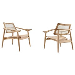 Set of 2 Contemporary Armchairs with Woven Back