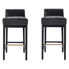 Set of 2 Contemporary Barstools in Black Oak/ Suede Calfskin Leather