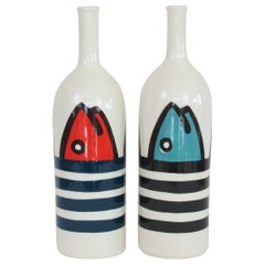 Set of 2 Contemporary Ceramic Bottles with Nautical Motifs, Marinière