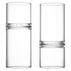 Set of 2 Contemporary Minimal Clear Revolution Liqueur Espresso Glasses Handmade