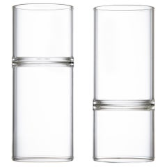 Set of 2 Contemporary Minimal Clear Revolution Liqueur Espresso Glasses Handmade