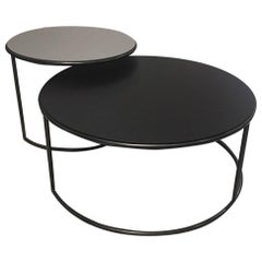 Set of 2 Contemporary Round Black and Grey Matt Lacquered Nesting Tables