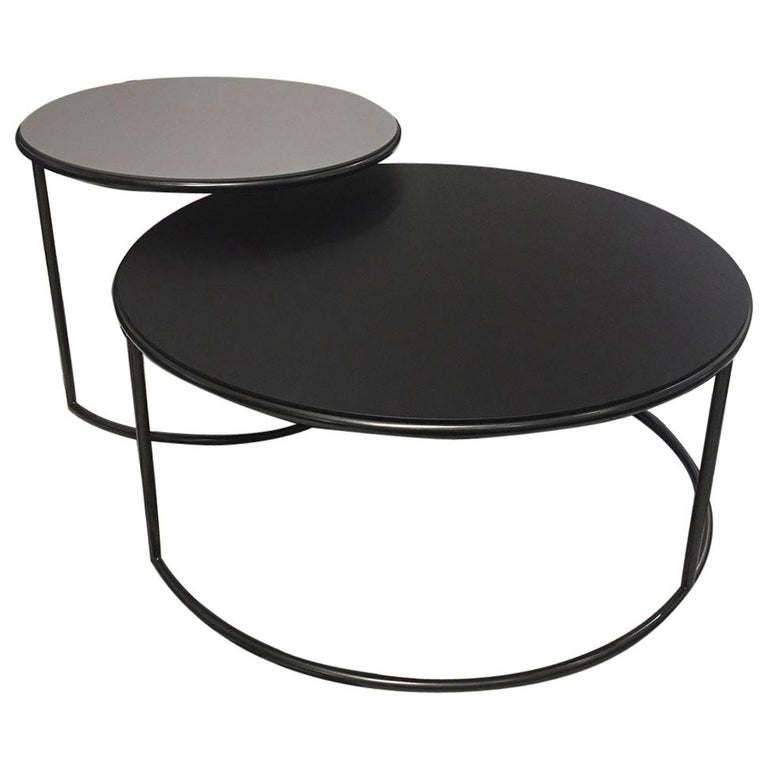 Set of 2 Contemporary Round Black and Grey Matt Lacquered Nesting Tables For Sale