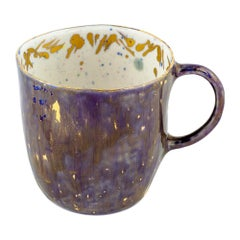 Set of 2 Coralla's Mugs Gold Hand Painted 20cl Coralla Maiuri Modern New