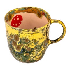 Set of 2 Coralla's Mugs Gold Hand Painted Coralla Maiuri Modern New
