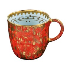 Set of 2 Coralla's Mugs Gold Hand Painted Coralla Maiuri Modern New Tableware