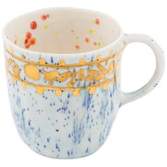 Set of 2 Coralla's Mugs Gold Handpainted 20cl Coralla Maiuri Modern New