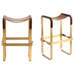 Set of 2 Counter Stool, Contemporary Design, Aged Brass & Dark Brown Leather