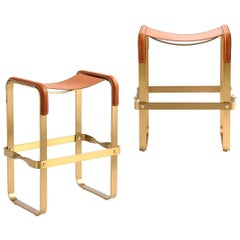 Set of 2 Counter Stool Contemporary Design, Aged Brass & Natural Tobacco Leather