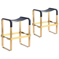 Set of 2 Counter Stool Contemporary Design, Aged Brass & Navy Blue Leather