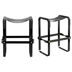 Set of 2 Counter Stool, Contemporary Design, Black Steel & Black Leather