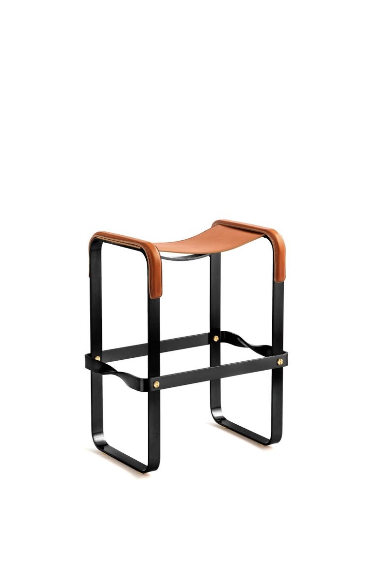 Modern Set of 2 Counter Stool, Contemporary Design, Black Steel & Tobacco Leather For Sale