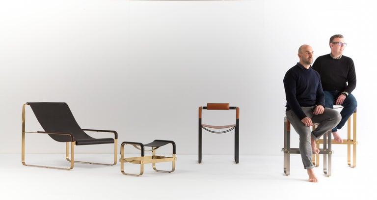 Set of 2 Counter Stool, Contemporary Design, Black Steel & Tobacco Leather In New Condition For Sale In Alcoy, Alicante