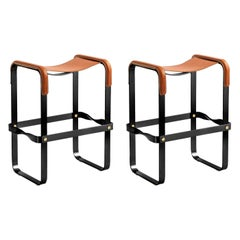 Set of 2 Counter Stool, Contemporary Design, Black Steel & Tobacco Leather