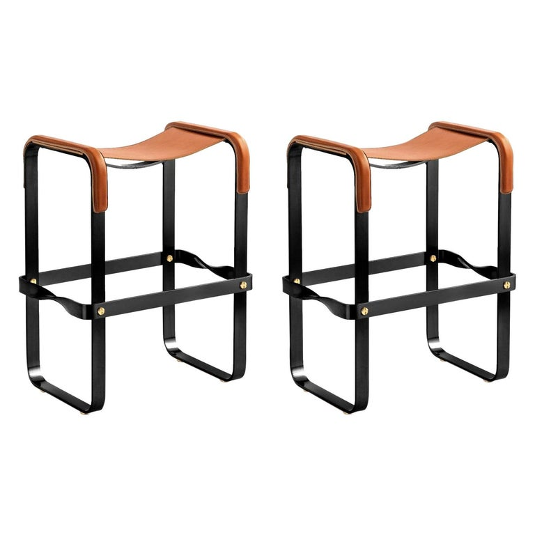 Set of 2 Counter Stool, Contemporary Design, Black Steel & Tobacco Leather For Sale