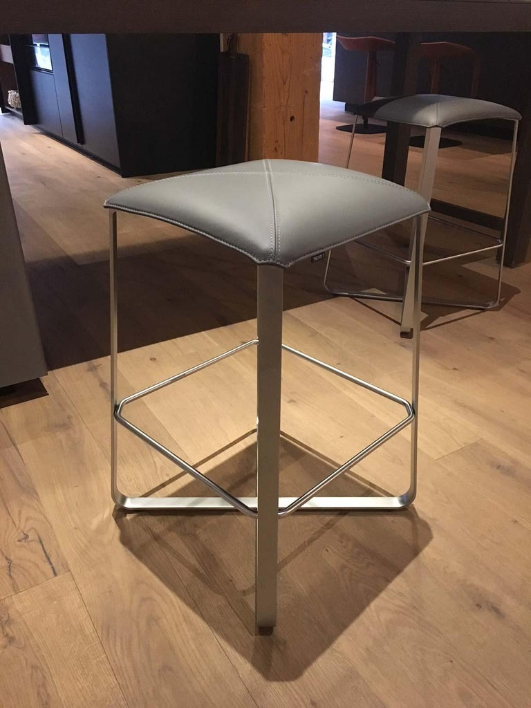 Austrian Set of 2 Counter Stools with Grey Leather Seat & Matt Chrome Plated Steel Frame For Sale