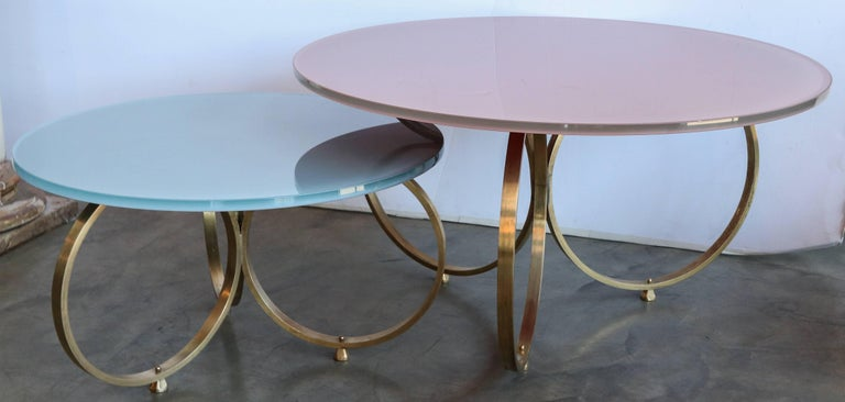 Mid-Century Modern Set of Two Custom Brass Coffee Tables with Reverse Painted Glass Top For Sale