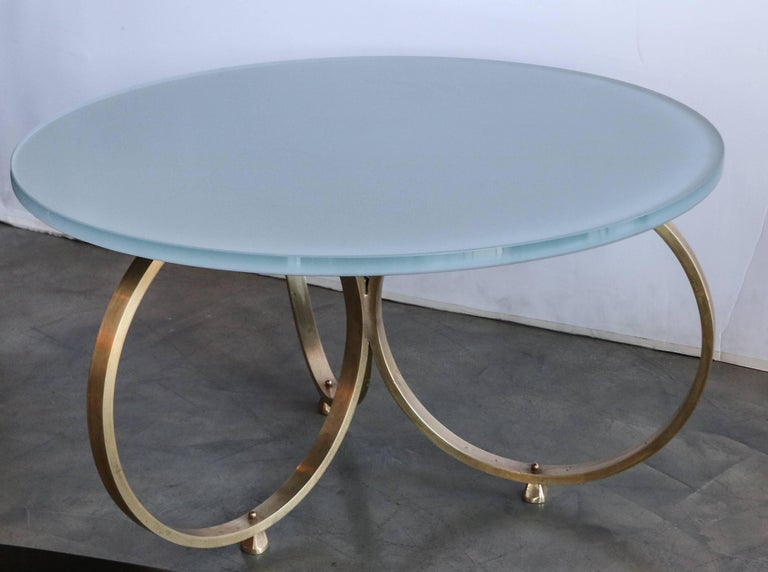 American Set of Two Custom Brass Coffee Tables with Reverse Painted Glass Top For Sale