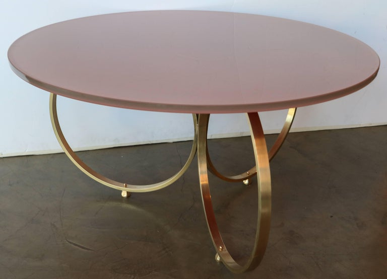 Contemporary Set of Two Custom Brass Coffee Tables with Reverse Painted Glass Top For Sale