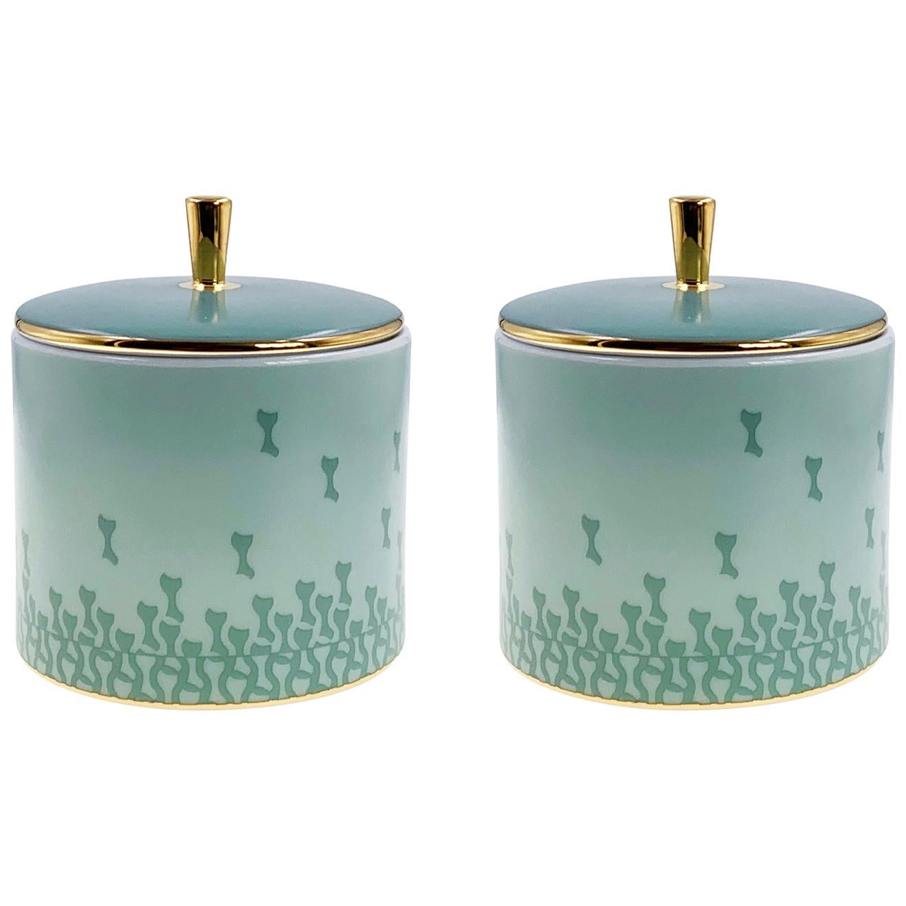 Set of 2 Cylindrical Box With Lid Mid Century Rhythm André Fu Living Tableware