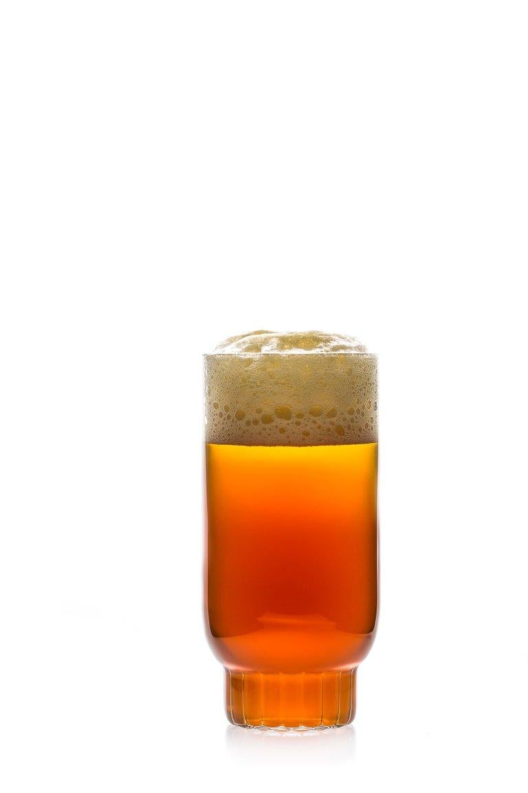 Modern EU Clients Pair Czech Contemporary Rasori Large Highball Beer Glasses in Stock For Sale