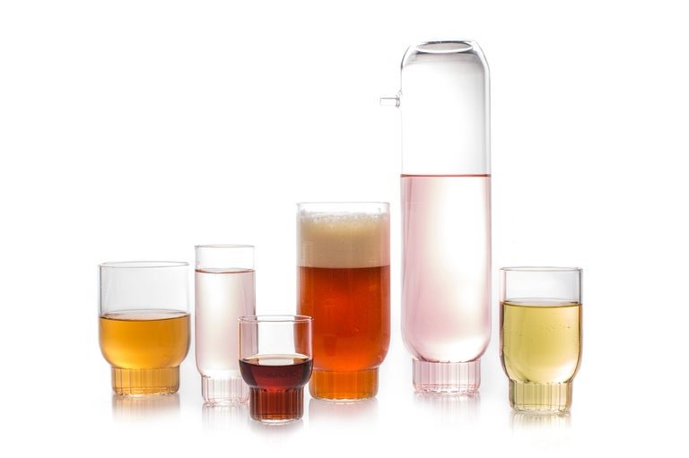 Hand-Crafted EU Clients Pair Czech Contemporary Rasori Large Highball Beer Glasses in Stock For Sale