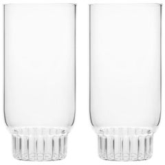 Set of 2 Czech Clear Contemporary Rasori Large Highball Beer Glasses in Stock EU