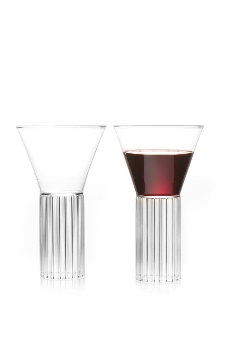 Czech EU Clients Set of 2 Contemporary Sofia Large Cocktail Wine Glasses in Stock For Sale
