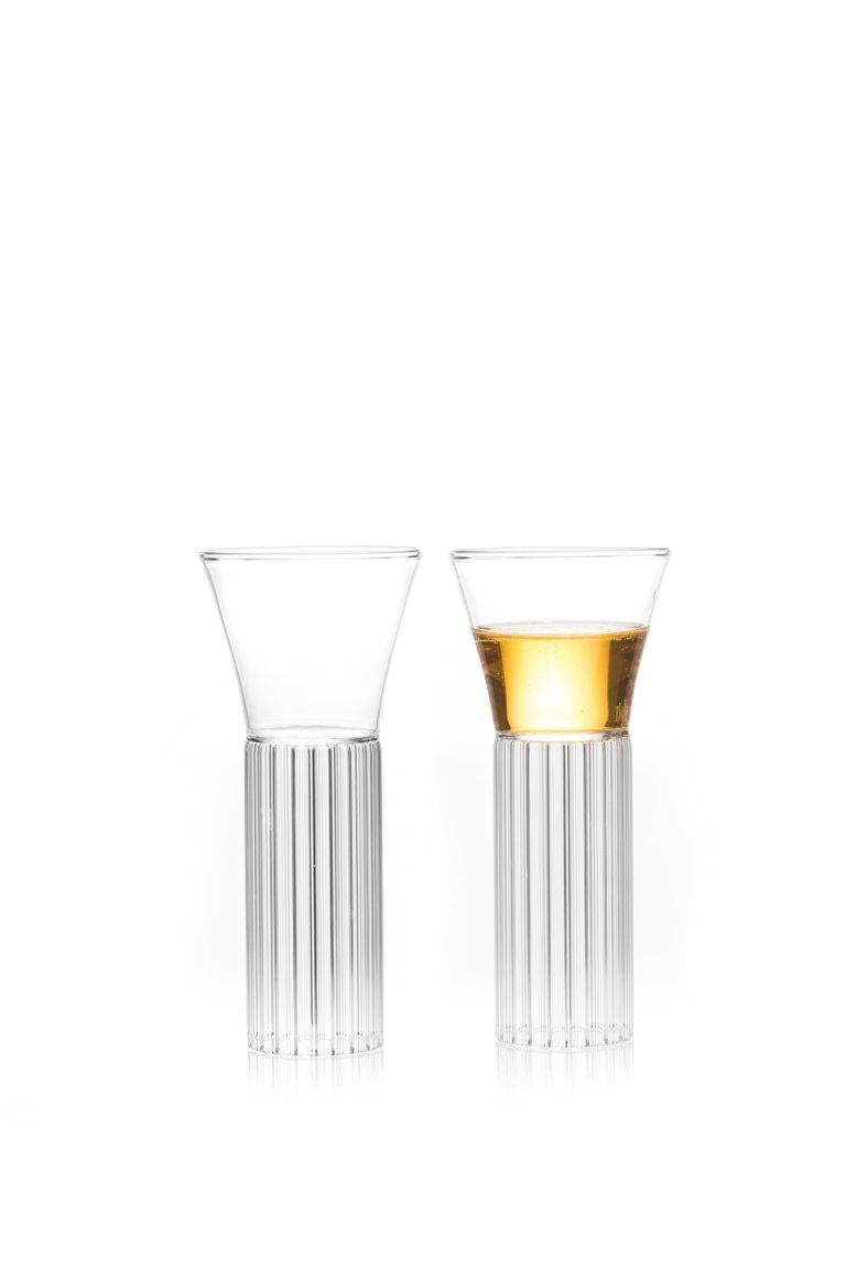 Czech EU Clients Set of 2 Contemporary Sofia Small Cocktail Wine Glasses in Stock For Sale