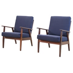 Set of 2 Danish Easy Lounge Chairs in Teak and Blue Wool Upholstery, 1960's