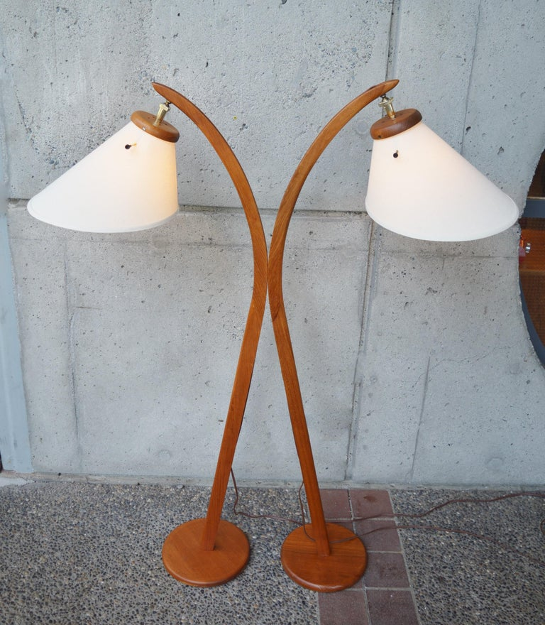 Set Of 2 Danish Modern Teak Arc Floor Lamps With Bonnet