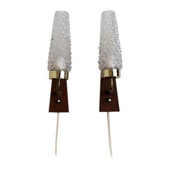 Set of 2 Danish Teak and Glass Sconces Made in the 1960s - Scandinavian Modern