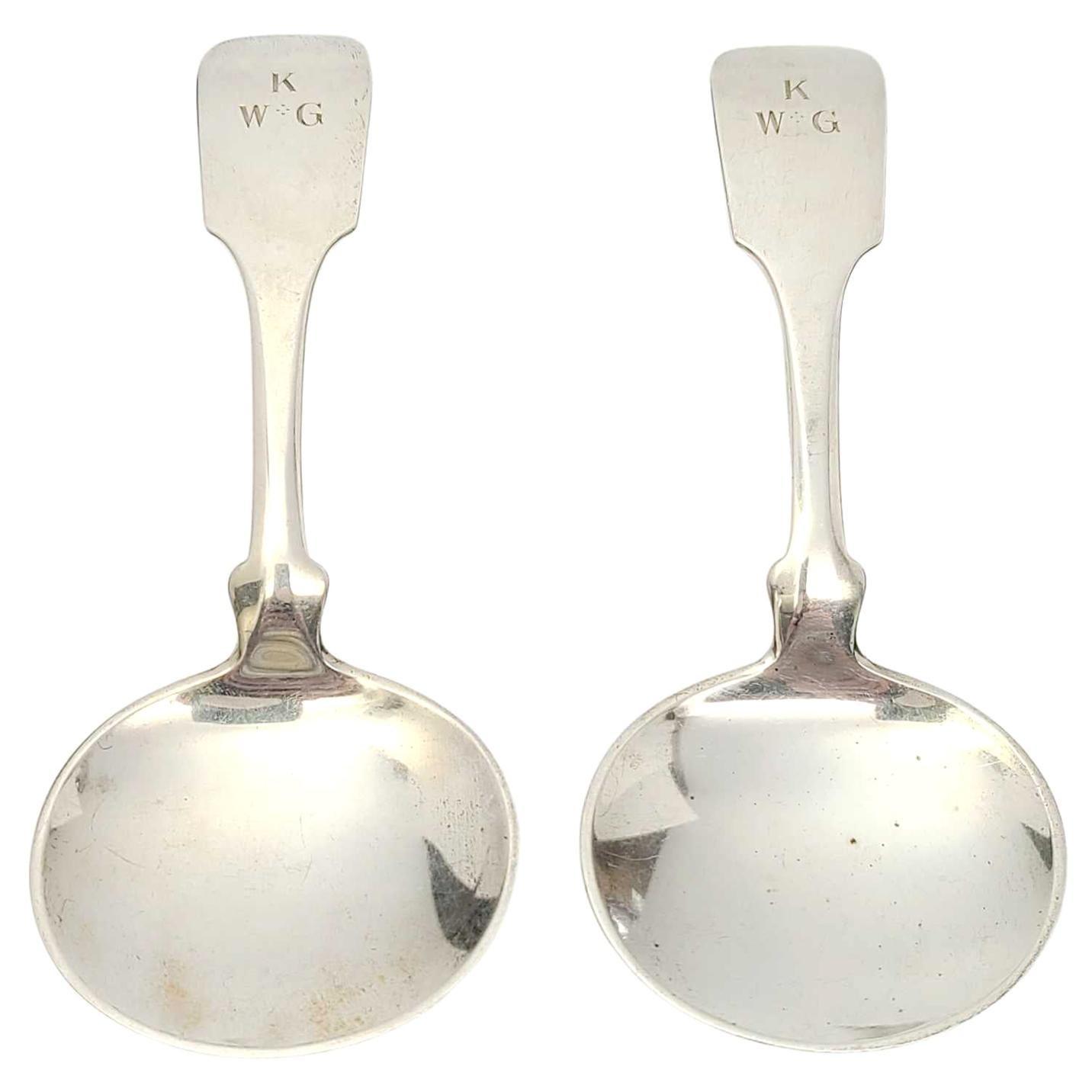 Set of 2 David Carlson Sterling Silver Arts & Crafts Tea Caddy Spoons