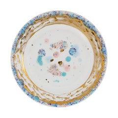 Set of 2 Dessert Plates Gold Hand Painted Coralla Maiuri Modern New