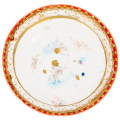 Set of 2 Dessert Plates Gold Hand Painted Coralla Maiuri Modern New Tableware