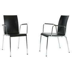 Set of 2 Dietiker Poro L Minimalist Dining Chairs with Arms, Made in Switzerland