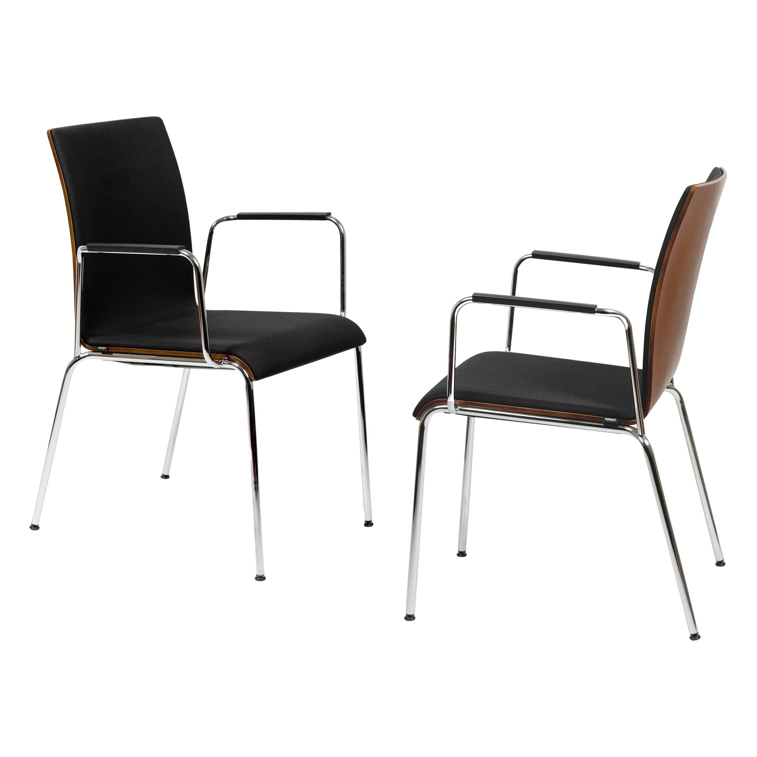 Set of 2 Dietiker Poro L Swiss Chairs, Brown with Black Upholstery, in Stock