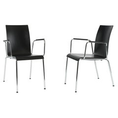 Set of 2 Dietiker Poro S Minimalist Dining Chairs with Arms, Made in Switzerland