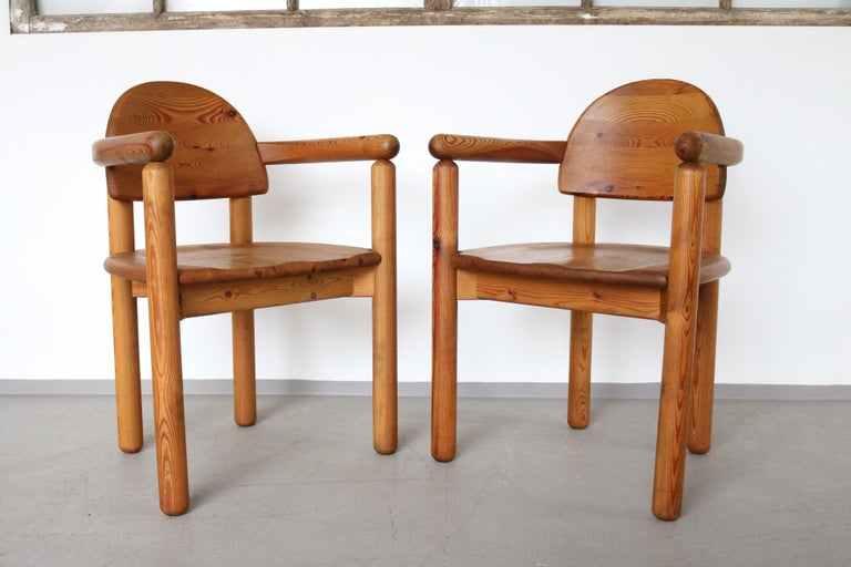 Mid-Century Modern Set of 2 Dining Armchairs in Solid Pinewood by Rainer Daumiller for Hirtshals For Sale