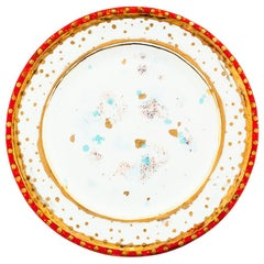 Set of 2 Dinner Plates Gold Hand Painted Coralla Maiuri Modern New Tableware