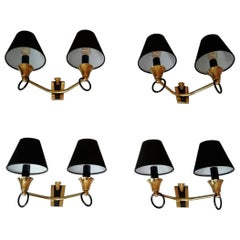 Set of 2 Double Pairs of Neoclassical Sconces, Maison Jansen, France, 1950