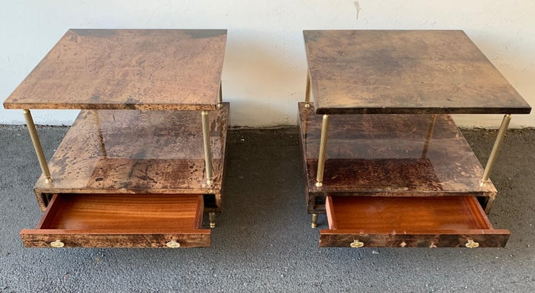 Set of 2 End or Coffee Tables by Aldo Tura For Sale 3