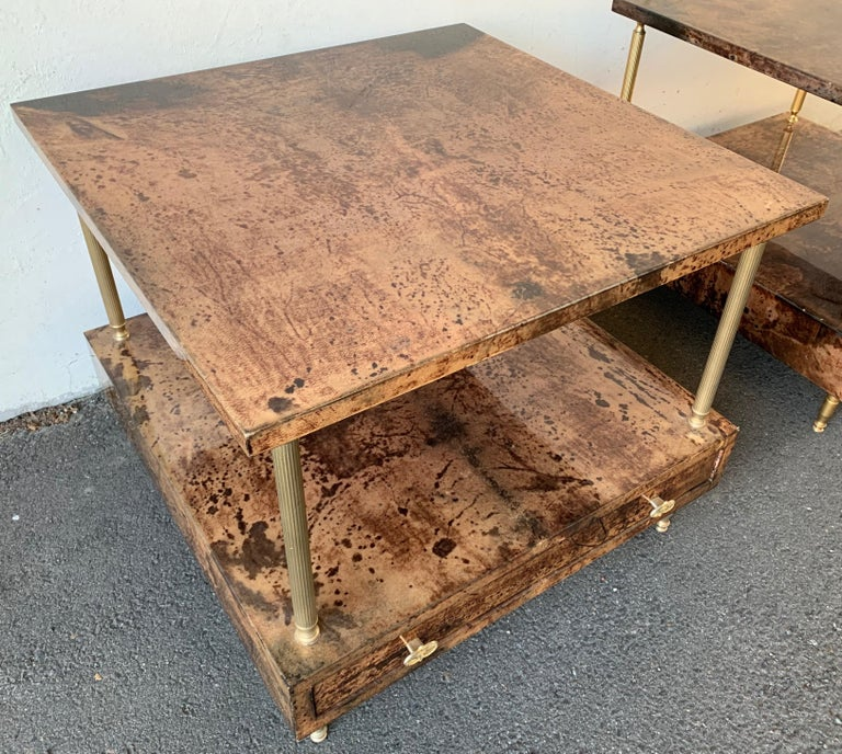Set of 2 End or Coffee Tables by Aldo Tura For Sale 6