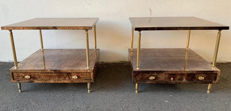Set of 2 End or Coffee Tables by Aldo Tura For Sale 7