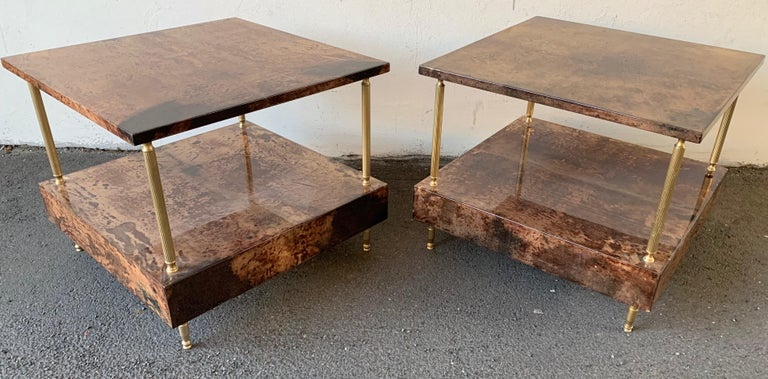 Italian Set of 2 End or Coffee Tables by Aldo Tura For Sale